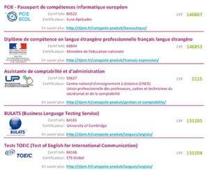 Voir la liste des certifications éligibles CPF