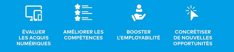 évaluer niveau acquis certification compétences numériques ICDL employabilité opportunités professionnelles formation bureautique informatique infographie internet web distance Cergy