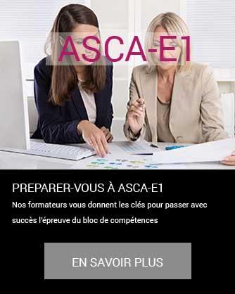préparation au passage du titre ASCA-E1 bloc de compétences Administration des ventes, achats et règlements de la PME à Cergy Pontoise ou à distance synchrone